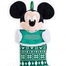 Disney Store  Mickey Mouse Plush Head Christmas Stocking  Green 2015