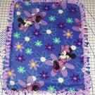 Disney Minnie Mouse Fleece Baby Blanket Floral Blue Purple Hand Tied Pet Lap