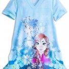 Disney Store Frozen Anna Elsa Snowflakes Nightshirt Sleepwear Girls Blue Size 5/6