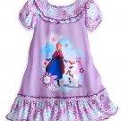 Disney Store Frozen Anna Elsa Nightshirt Sleepwear Girls Purple Size 5/6