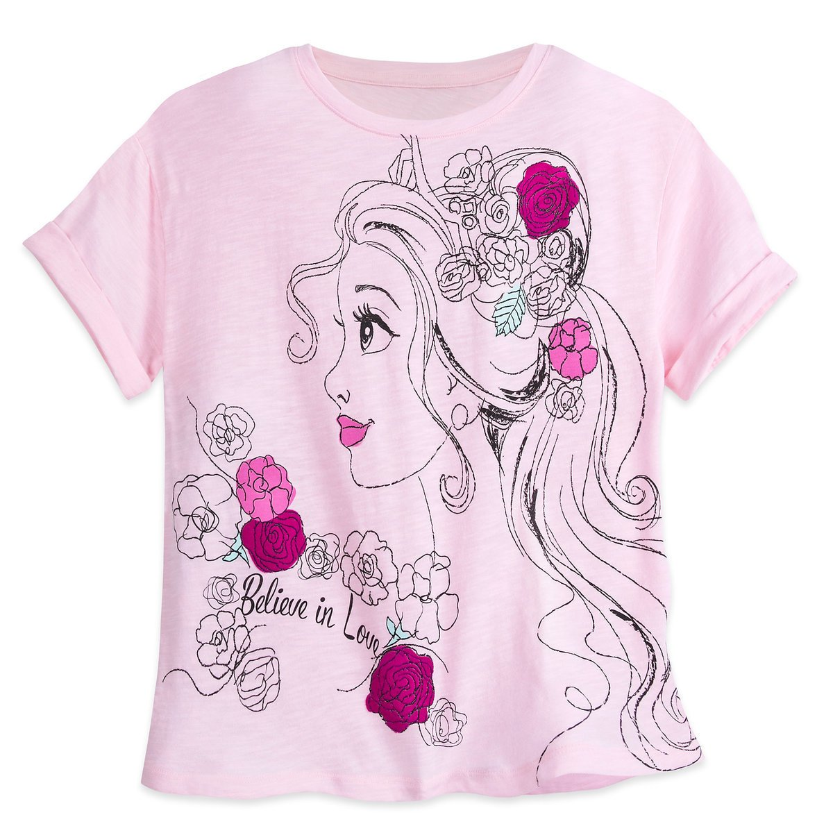 Disney Store Belle T-Shirt Tee Ladies Beauty and the Beast Pink 2017 X-Large
