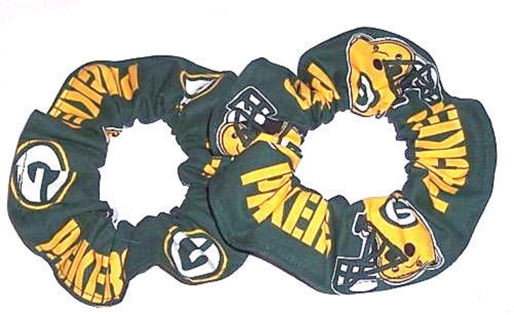 Green Bay Packers Football Green  Fabric Hair Scrunchie Scrunchies NFL