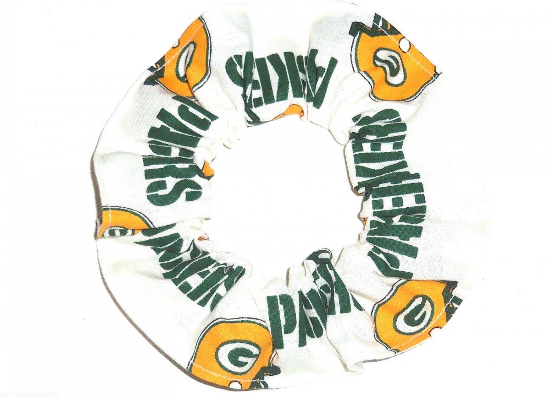 Green Bay Packers Football White Fabric Hair Scrunchie Scrunchies NFL