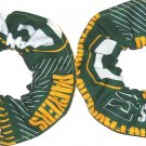 2 Green bay Packers Green Fabric Mini Hair Scrunchies Scrunchie NFL