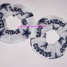 2 Dallas Cowboys Football White Fabric Hair Scrunchies Scrunchie NFL