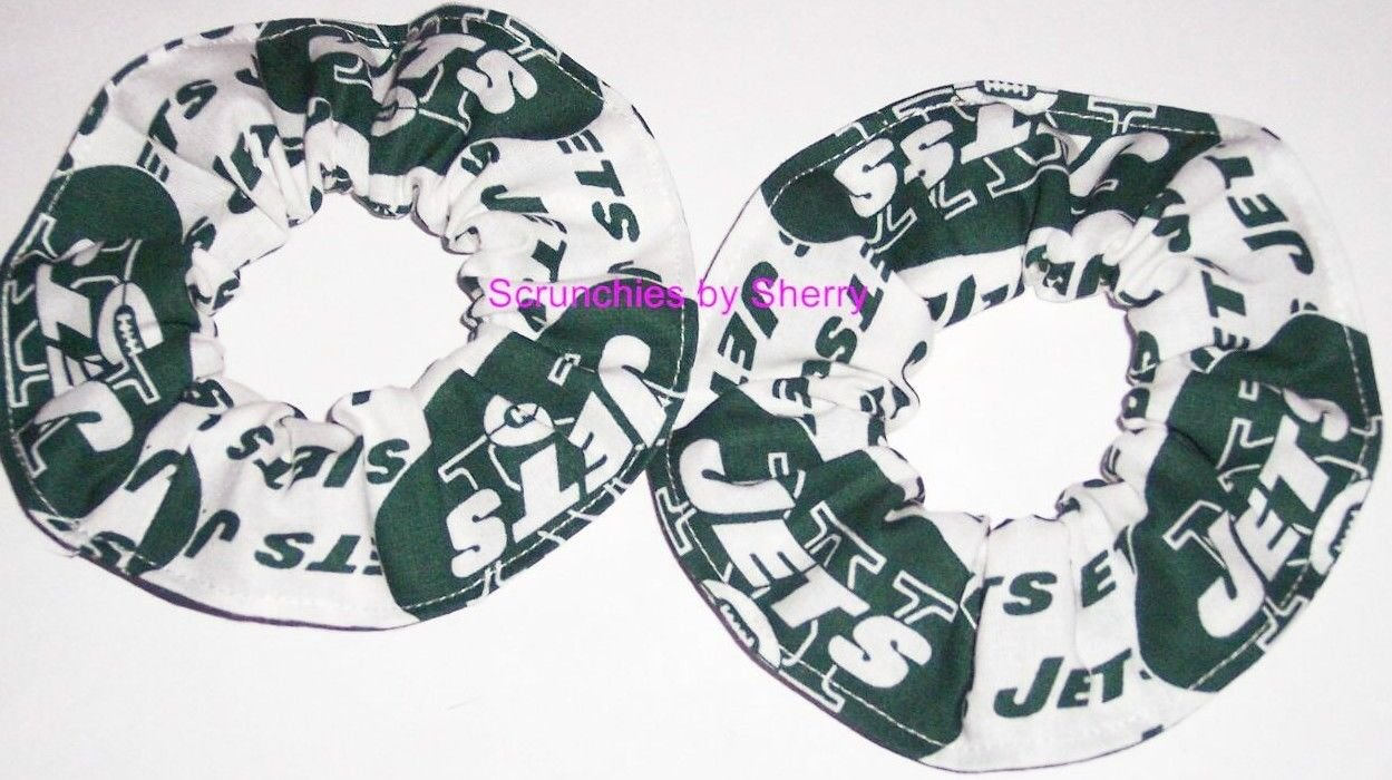 New York Jets Football Fabric Mini Hair Scrunchies Scrunchie NFL Set of 2