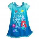 Disney Store Ariel Nightshirt Nightgown Princess Flounder Mermaid Teal 5/6