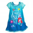 Disney Store Ariel Nightshirt Nightgown Princess Flounder Mermaid Teal 7/8