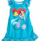 Disney Store Ariel Nightshirt Nightgown Princess Flounder Mermaid Teal Size 7/8