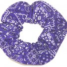 Purple Bandana Print Fabric Hair Scrunchie Scrunchies By Sherry