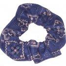 Navy Bandana Print Fabric Hair Scrunchie Scrunchies By Sherry