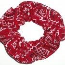 Red Bandana Print Fabric Hair Scrunchie Scrunchies By Sherry