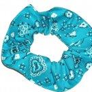 Bright Turquiose Bandana Print Fabric Hair Scrunchie Scrunchies By Sherry