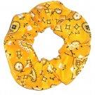 Gold Bandana Print Fabric Hair Scrunchie Scrunchies By Sherry