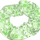 Light Green Bandana Print Fabric Hair Scrunchie Scrunchies By Sherry