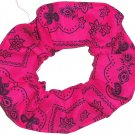 Fuchsia Hot Pink Bandana Print Fabric Hair Scrunchie Scrunchies By Sherry