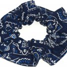 Blue on Navy Bandana Print Fabric Hair Scrunchie Scrunchies By Sherry