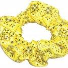 Yellow Bandana Print Fabric Hair Scrunchie Scrunchies By Sherry