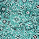 Aqua Gray Bandana Print Fabric Hair Scrunchie Scrunchies By Sherry