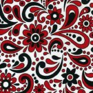 Black Red White Paisley Print Fabric Hair Scrunchie Scrunchies By Sherry