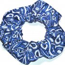 Blue Black White Paisley Print Fabric Hair Scrunchie Scrunchies By Sherry
