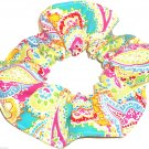 Pink Yellow  Paisley Print Fabric Hair Scrunchie Scrunchies By Sherry
