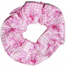Pink Ribbon Breast Cancer Awareness Teddy Bears Fabric Hair Scrunchie Scrunchies