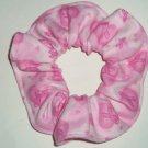 Pink Ribbon Breast Cancer Awareness on Hearts Flannel Fabric Hair Scrunchie Scrunchies