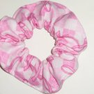 Pink Ribbon Breast Cancer Awareness Arglye Flannel Fabric Hair Scrunchie Scrunchies
