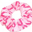 Pink Ribbon Breast Cancer Awareness Flannel Fabric Hair Scrunchie Scrunchies