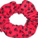Dog Paw Prints Black on Red Fabric Hair Ties Scrunchie Scrunchies by Sherry