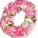 Puppies on Pink Floral Fabric Hair Ties Scrunchie Scrunchies by Sherry