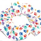 Dog Paw Prints Rainbow on White Fabric Hair Ties Scrunchie Scrunchies by Sherry