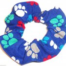 Dog Paw Prints Blue Fabric Hair Ties Scrunchie Scrunchies by Sherry