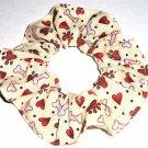 Dog Paw Prints Bones Cream Fabric Hair Ties Scrunchie Scrunchies by Sherry