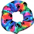 Dog Paw Prints Rainbow Tie Dyed Fabric Hair Ties Scrunchie Scrunchies by Sherry