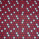 Dog Paw Prints Red White on Black Fabric Hair Ties Scrunchie Scrunchies by Sherry