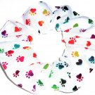 Dog Paw Prints Tie Dyed Rainbow on White Fabric Hair Ties Scrunchie Scrunchies by Sherry
