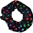 Dog Paw Prints Tie Dyed Rainbow on Black Fabric Hair Ties Scrunchie Scrunchies by Sherry