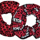 Red Dog Paw Words  Print Fabric Hair Ties Scrunchie Scrunchies by Sherry Set of 2
