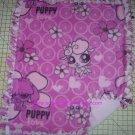 Puppy Love on Pink Fleece Baby Pet Lap Blanket