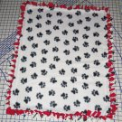 Paw Prints Black on White Fleece Baby Pet Lap Blanket