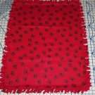 Paw Prints Black on Red Fleece Baby Pet Lap Blanket