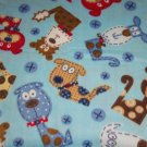 Dogs on Blue Fleece Baby Pet Lap Blanket