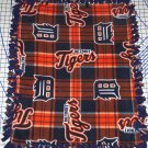 Detroit Tigers Plaid Fleece Blanket Hand Tied Baby Pet Dog Lap MLB Baseball