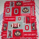 Ohio State Buckeyes Patchwork Fleece Blanket Hand Tied Baby Pet Dog Lap NCAA College