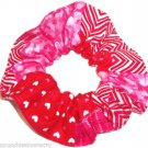 Valentines Red Pink Hearts Patchwork Fabric Hair Scrunchies