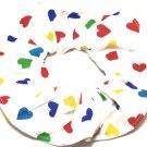 Valentines Colorful Hearts  White Fabric Hair Scrunchies