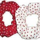 Valentines Red Hearts White Fabric Hair Scrunchies Set of 2