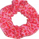 I Love Lucy Hearts on Pink Fabric Hair Scrunchie Scrunchies by Sherry
